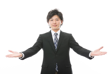 Young businessman to recommend it to photo