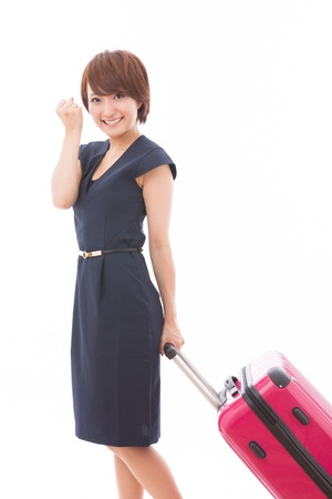 Beautiful young asian woman who goes for a trip photo