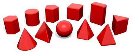 Solid Geometry Toy Blocks Red photo