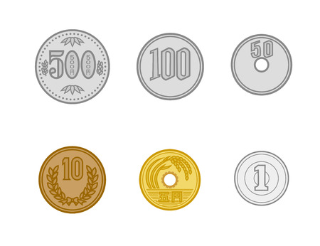 illustration of Japan money set