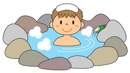Male in hot springs