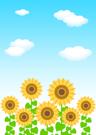 Background material template: blue sky white clouds sunflower