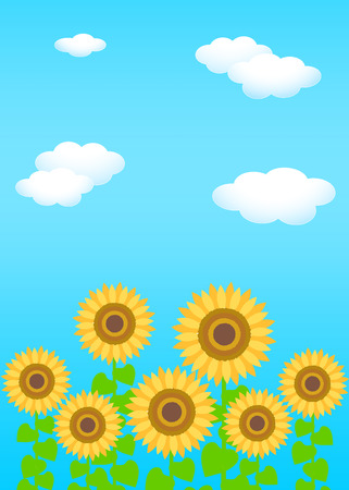 Background material template: blue sky white clouds sunflower Reklamní fotografie - 121163553