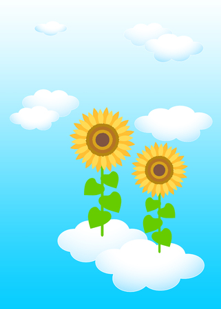 Background material template: blue sky white clouds sunflower Reklamní fotografie - 121163566