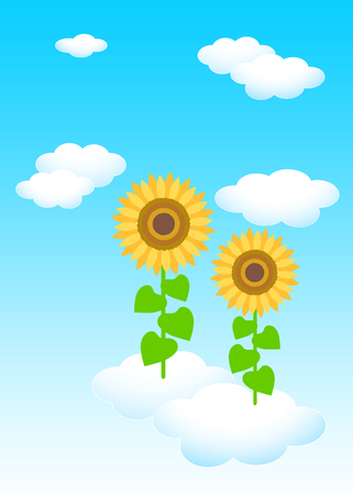 Background material template: blue sky white clouds sunflower Reklamní fotografie - 121163567