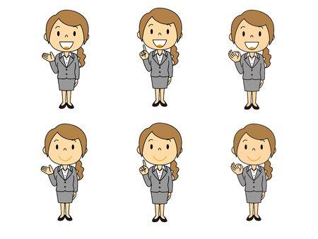 Suit Female Gesture Illustration Set Stok Fotoğraf - 133024091