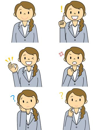 Suit Female Gesture Illustration Set Stok Fotoğraf - 133024090