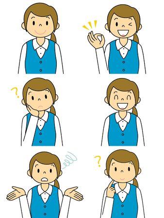 Suit Female Gesture Illustration Set