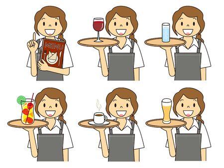 Female Cafe Clerk Gesture Illustration Set Stok Fotoğraf