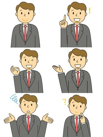 Businessman Gesture Illustration Set