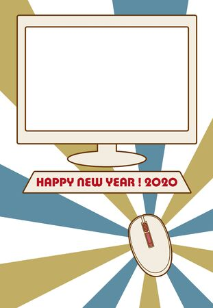 Mouse New Year's Card Photo Frame Template Vector Illustration