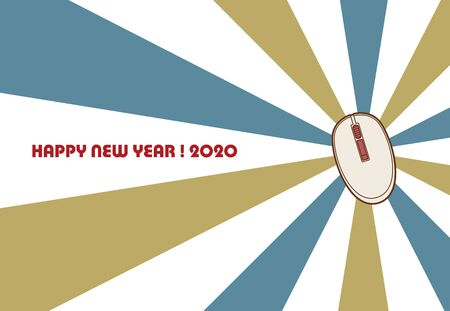 Mouse New Year's card template vector illustration