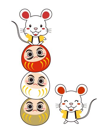 A mouse wearing a coat of law riding a daruma Stock fotó