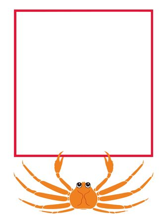 Crab illustration with a message board (such as a price tag) Ilustrace