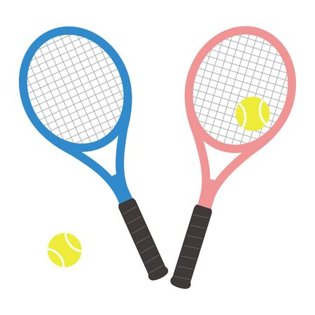 Set of tennis rackets and tennis balls Vector illustration