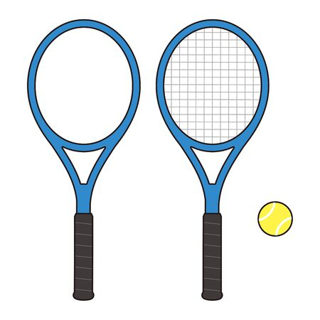 A set of tennis rackets with guts and a set of tennis rackets and balls without gut vector illustrations