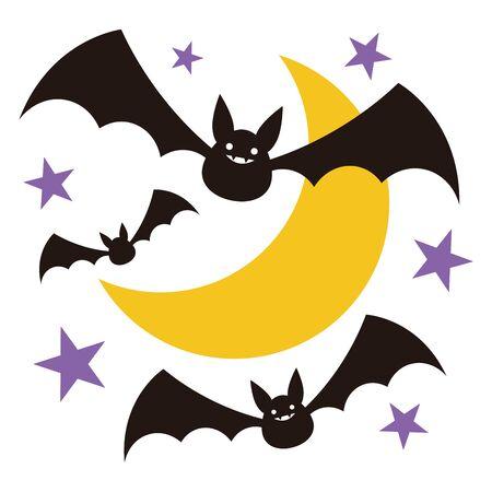 Halloween Bat Moon Star Vector Illustration