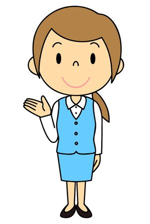 Illustration of a woman in a suit Standing figure pointing