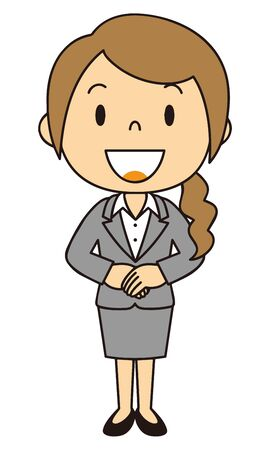 Illustration of a woman wearing a suit Full body standing figure Basic posture