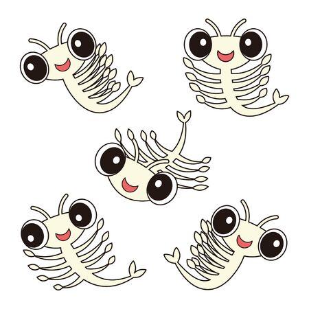 Sea Monkey Artemia Character Set Vector Illustration