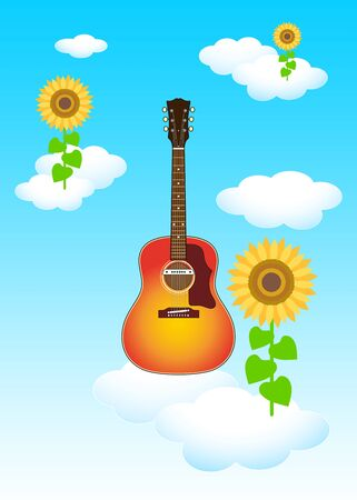 [Background Material] Blue Sky White Clouds Sunflower Flower Guitar Illustration