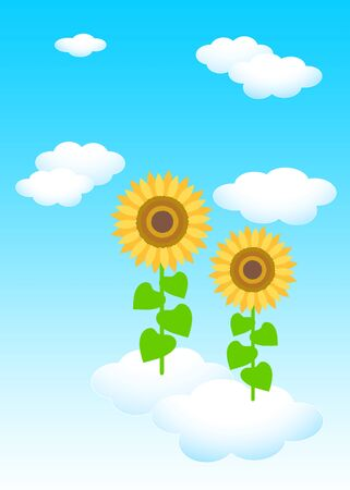 [Background material] blue sky white cloud sunflower flower illustration Фото со стока