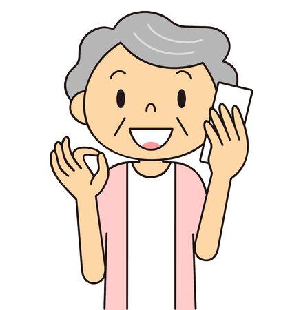 Illustration material of senior generation [women] who master smartphone Фото со стока