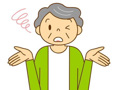 Illustration of senior generation [women emotions and gestures