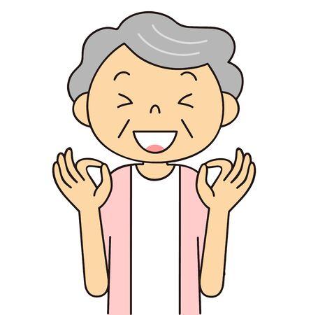 Illustration of senior generation [women' emotions and gestures Фото со стока