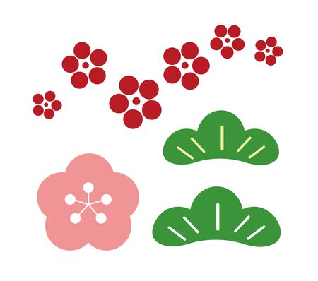 New Years card material Shochiku Ume illustration clip art