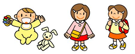 Series (girl) Akachan, kindergarten, elementary school children illustrations depicting the life of a person 写真素材