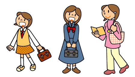 A series (girls) junior high school student, high school student, university student illustration singing the life of a person