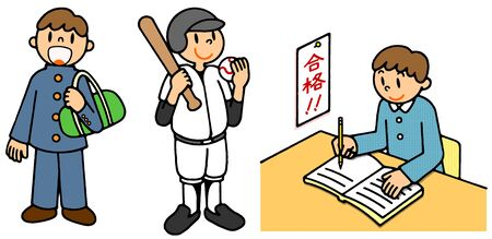 Series (boy) junior high school students, club activities, examination illustrations depicting the life of a person