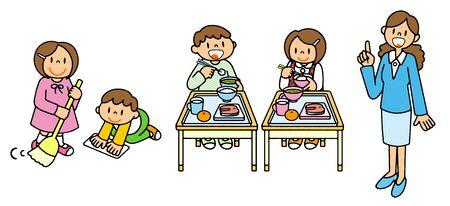 People School Life Soji School Lunch Teacher Illustration