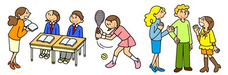 People School Life Class Tennis English Conversation Study Abroad Uniform Foreign Club Activities Sports Illustration