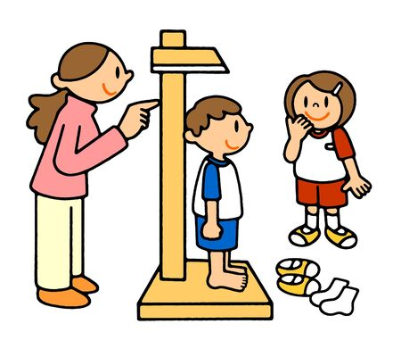 People School Life Height Measurement Health Checkup Illustration