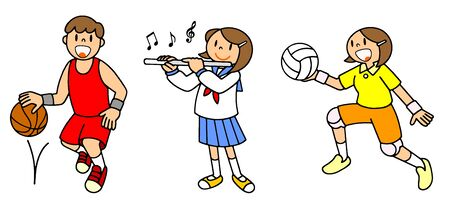 People School Life Club Activity Basketball Band Volleyball Illustration
