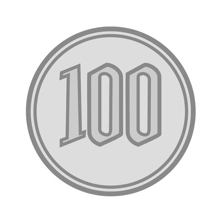 Image of Japanese money coin 100 yen icon illustration 写真素材