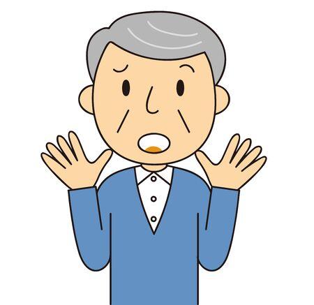 Illustration of senior generation [male] emotions and gestures