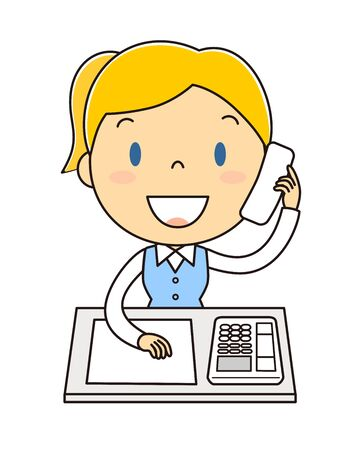 Illustration clip art of the woman in the office who is answering the telephone
