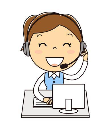 Call Center Woman Illustration Clip Art