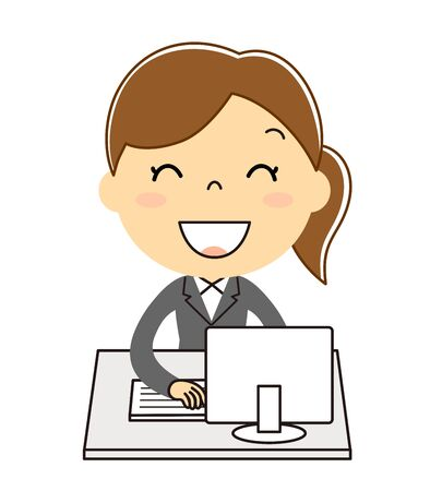 Woman illustration clip art in the computer and office