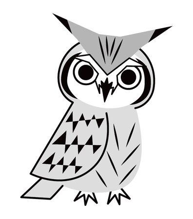 Owl Fashionable Konohazuku's Vector Illustration