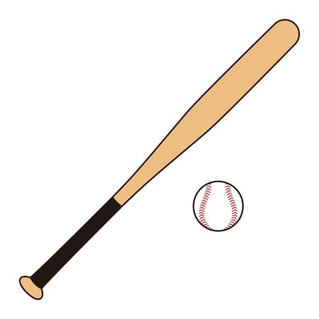 Illustration of baseball equipment Baseball ball Baseball bat  イラスト・ベクター素材