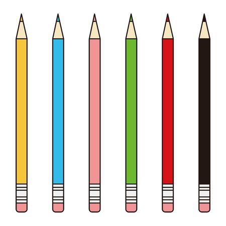 Colorful Pencil Illustration Icon Stationery  イラスト・ベクター素材