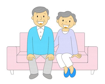 Senior generation couple relaxing on the sofa Illustration Clip Art