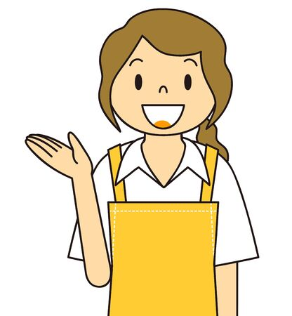 Illustration of the gesture of a woman wearing an apron Stock Photo