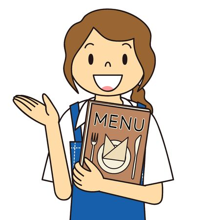 Waitress's Gesture Illustration Menu