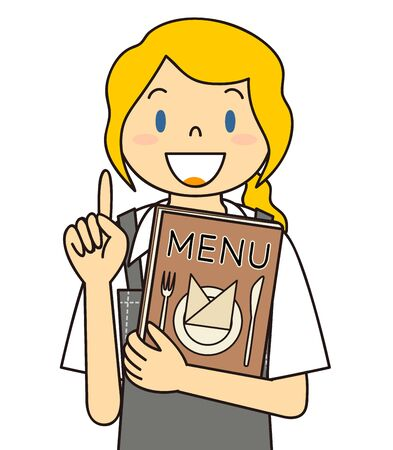 Waitress Gesture Illustration Menu Suggestion Stock Photo