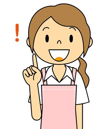 Illustration of the gesture of a woman wearing an apron Stok Fotoğraf
